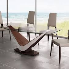 Wooden Base For Glass Dining Table Modern Glass Dining Table Design Come With Wooden Base In Brown