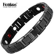 magnetic bracelet with germanium images Hottime black bracelet men hand chain energy health germanium jpg