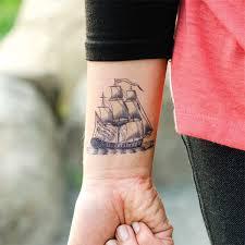 upper back pirate ship anchor tattoo design