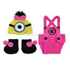 Newborn Halloween Costumes 0 3 Months 2017 Handmade Knitted Crochet Baby Minion Cartoon