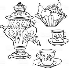 set icons russian samovar bowl of fruit and tea cups stock vector