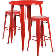 30 round bar table 30 round red metal indoor outdoor bar table set with 2 square seat