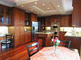 modern kitchen ideas with cherry wood kitchen cabinets and