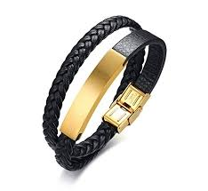 gold plated leather bracelet images Personalized engrave gold plated stainless steel id jpg