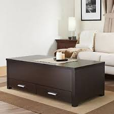 Living Room Furniture Ebay by Coffee Storage Table Wood Espresso 2 Drawers Sliding Top Living