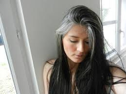 how to grow in gray hair with highlights long grey hair pinteres