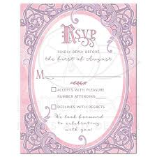 quinceanera party invitations pink purple fairy tale quinceañera rsvp card ornate frame