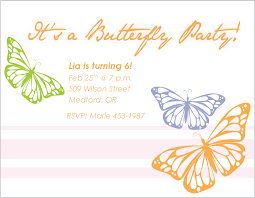 butterfly invitation template invitation template