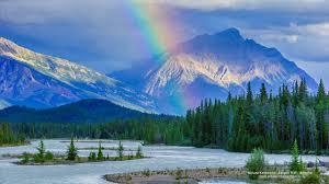 rainbow trees canadian mountain nature rainbow mountains snow