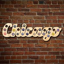 Chicago Map Wall Art by Chicago Bottle Cap Map
