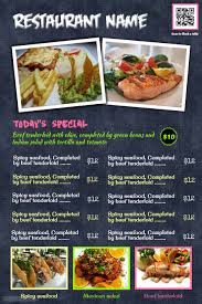 restaurant menu flyers chalkboard background with images