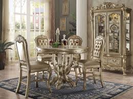 Carved Dining Table And Chairs Carved Wood 5pc 48 Counter Height Dining Table Set In Gold Patina