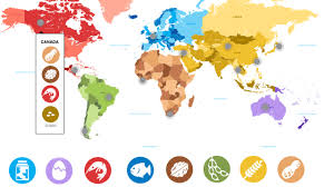 Colombia On World Map by Map Of Allergies Around The World