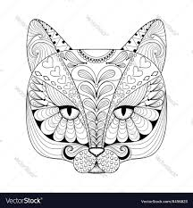 zentangle cat print for coloring page vector image