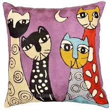 Purple Sofa Pillows by Picasso Purple Cat Pillow Cover Quadruplets Hand Embroidered Wool