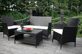 Resin Patio Chair Woven Outdoor Furniture Black Patio Furniture Wicker Table And