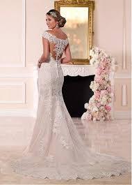 robe de mari e dentelle sirene robe de mariée sirène manche courte tulle dentelle perle de col en v