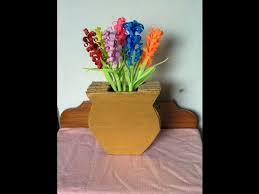 How To Draw A Vase Of Flowers How To Make A Cardboard Vase Youtube