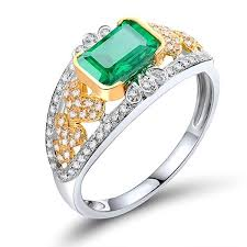 52nd wedding band emerald ring