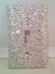 clear light switch cover bling silver glitter with clear ab rhinestones light switch cover