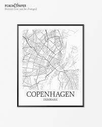 Copenhagen Map Copenhagen Map Art Print Copenhagen Poster Map Of Copenhagen