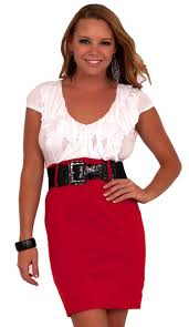 short sleeve ruffle neckline belted pencil skirt office party