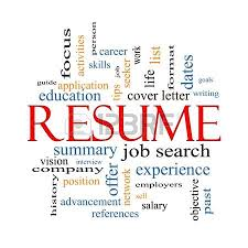 Activity Resume Resume Word Cloud Concept In Red Caps With Great Terms Such As