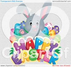 clipart of a gray bunny rabbit with decorated eggs over happy
