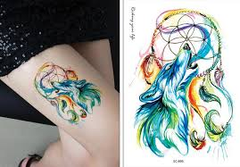 tattoo pictures color water transfer fake tattoo color wolf dreamcatcher tatoo waterproof
