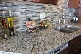 Bliss Glass And Stone Backsplash Details About Sample Blue White - Linear tile backsplash