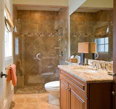 small bathroom ideas with walk in shower dark brown color granite
