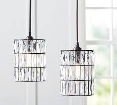 crystal pendant lighting for kitchen pb classic adeline crystal pendant pottery barn