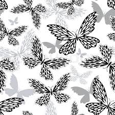 repeating white black grey pattern with silhouettes butterflies