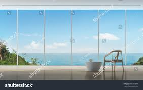 coffee time luxury sea view interior stock illustration 486081544