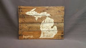 World Map Wood Wall Art by State Of Michigan Reclaimed Wood Pallet Wall Art Gift Hand