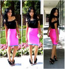 color necklace black dress images Marina hidalgo ami clubwear neon pink black color block bodycon jpg