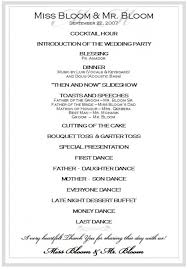 wedding reception itinerary wedding reception itinerary wedding reception schedule b