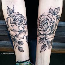 tattoo ideas roses arm amazing black and white two roses tattoo