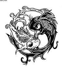 ying yang koi fish tattoo design in tribal style photo 3 photo