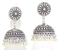 new jhumka earrings silver plated pearl handmade new temple jewelry beautiful jhumka