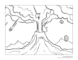 volcano for kids coloring page free download