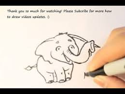how to draw a cartoon cute baby elephant como dibujar un elefante