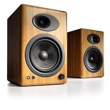 audioengine 5 premium desktop speaker system bamboo