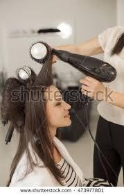 shaping long hair young woman hair salon drying shaping stock photo 473977801