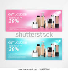 gift voucher cosmetics lotion packaging template stock vector
