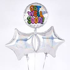 get well soon balloons delivery get well soon holographic silver balloon bouquet inflated free