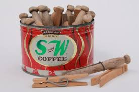 vintage s u0026w coffee can w old wooden clothespins primitive