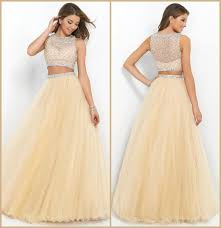2015 champagne two piece long prom dresses beaded bateau neck