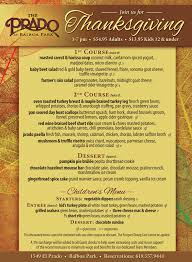 3 course thanksgiving dinner at the prado cohn restaurant