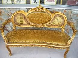 still stunning vintage resale wood carved gold colour upholstered